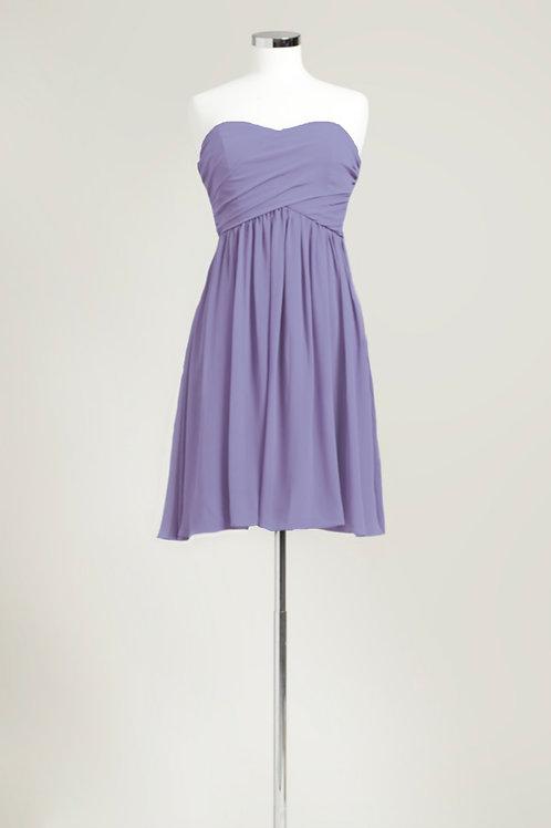 Cheap dusty purple bridesmaid dress knee length chiffon