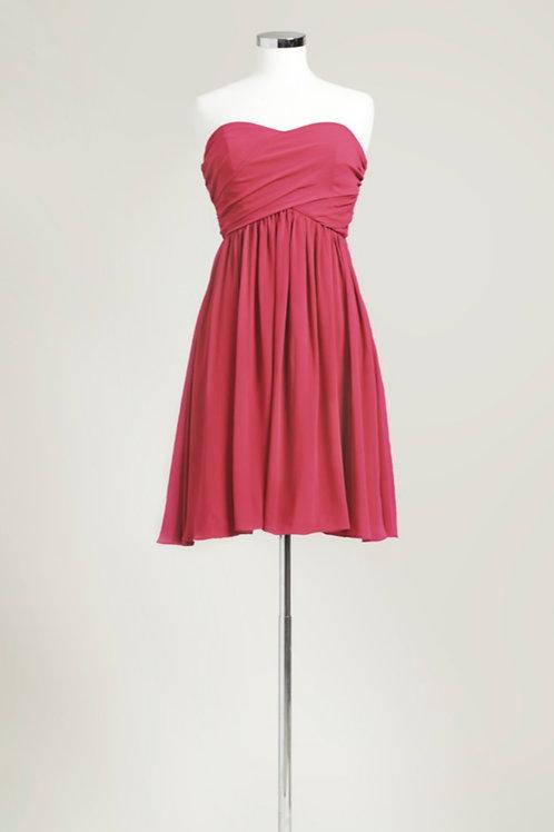 Red sweetheart knee length bridesmaid dress cheap used chiffon