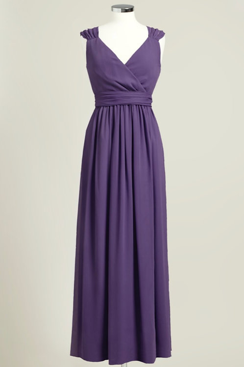 Cheap purple bridesmaid dress chiffon floor length wrap used