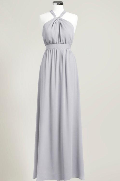 Silver grey party dress bridesmaid long