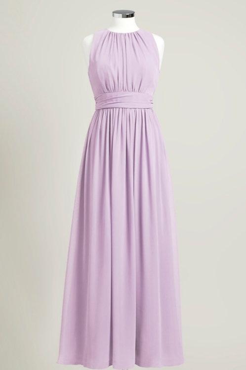 Lavender chiffon bridesmaid dress jewel neck floor length cheap used