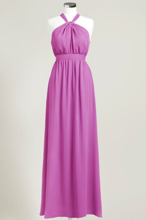 Pink party dress floor length bridesmaid