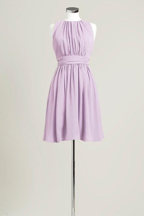 Lavender bridesmaid dress chiffon jewel neck knee length used