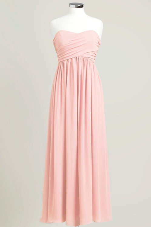 Soft pink bridesmaid dress used floor length cheap sweetheart