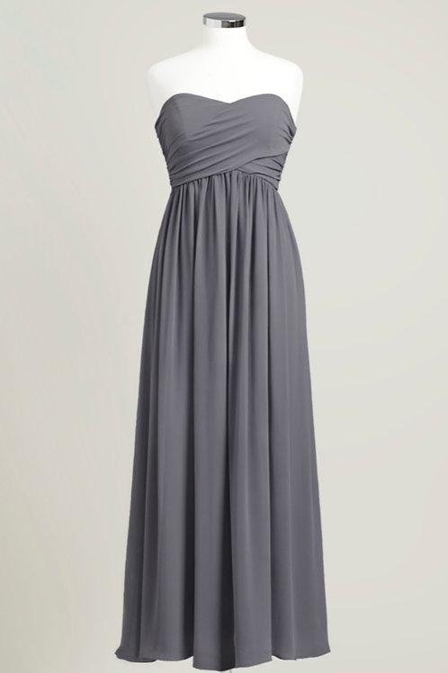 Charcoal grey used cheap bridesmaid dress chiffon sweetheart floor length