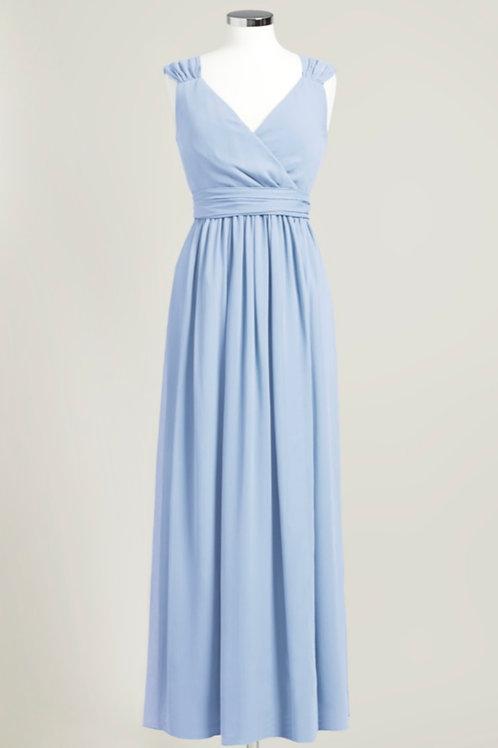 Cheap bridesmaid dress ice blue used floor length light chiffon