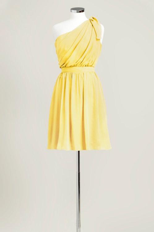 Yellow chiffon one shoulder knee length bridesmaid dress used