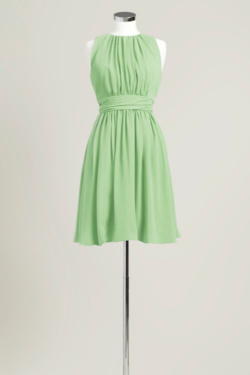 Sage green bridesmaid dress knee length chiffon jewel neck