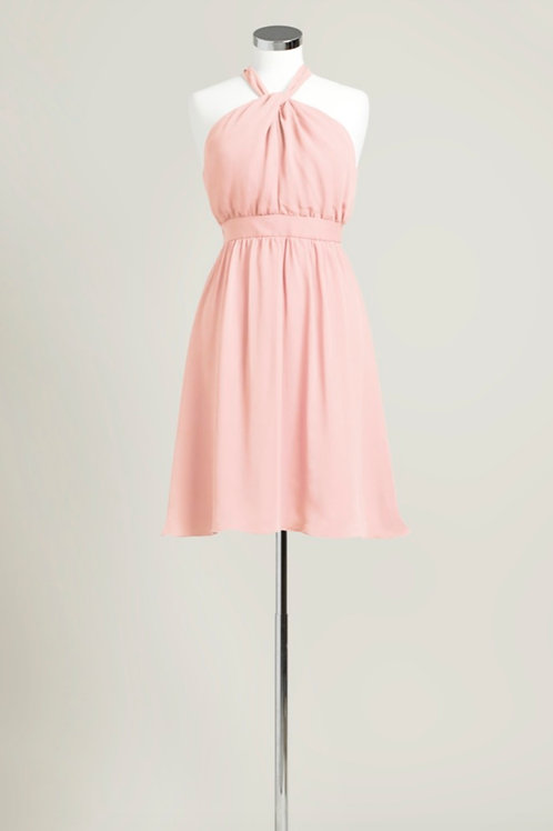 Soft pink halter knee length chiffon bridesmaid dress used