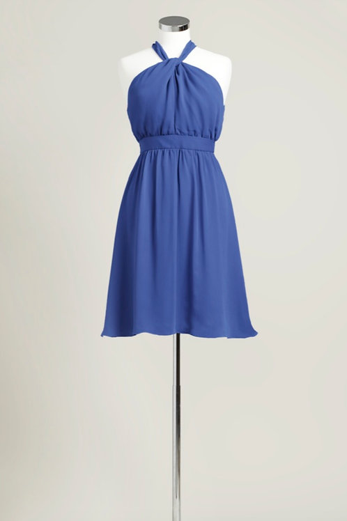 Royal blue halter knee length chiffon bridesmaid dress