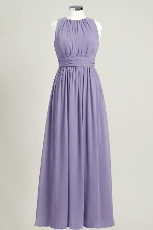 Dusty purple chiffon bridesmaid dress jewel neck floor length used