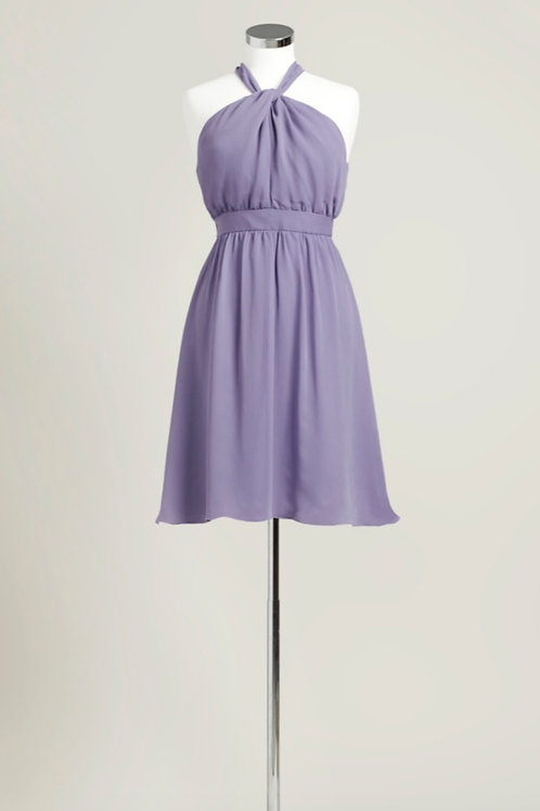 Dusty purple halter knee length chiffon bridesmaid dress used