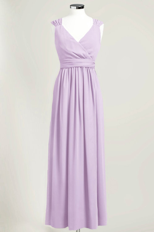 Cheap bridesmaid dress lavender purple floor length chiffon used