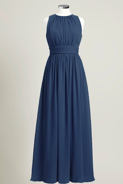 Navy blue jewel neck floor length bridesmaid dress chiffon