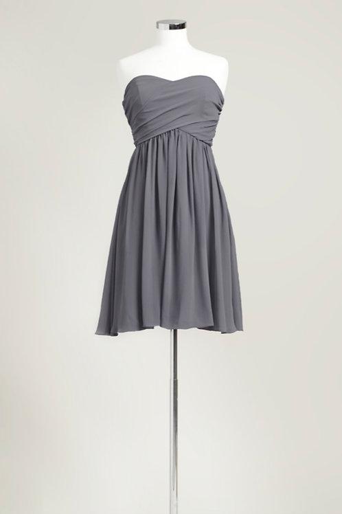 Cheap grey sweetheart knee length bridesmaid dress used chiffon