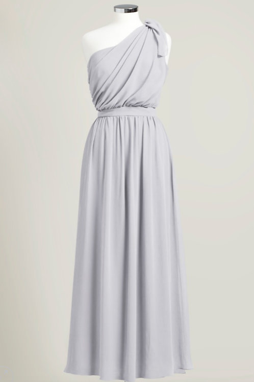 Bridesmaid dress silver grey chiffon used one shoulder floor length