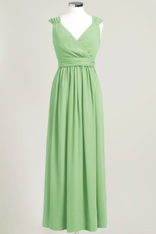 Dusty sage light green bridesmaid dress used floor length chiffon wrap