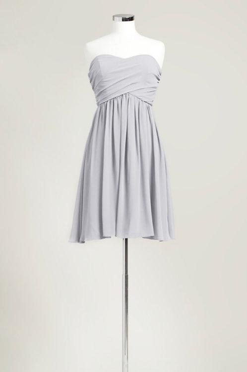 Silver grey bridesmaid dress cheap sweetheart knee length chiffon used