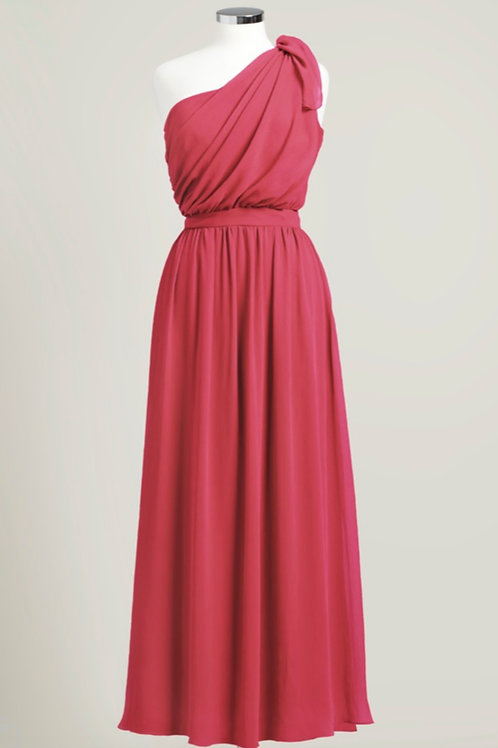 Apple red bridesmaid dress floor length one shoulder chiffon used