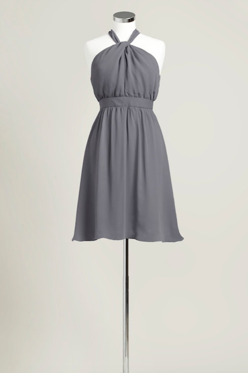 Charcoal grey bridesmaid dress knee length halter chiffon