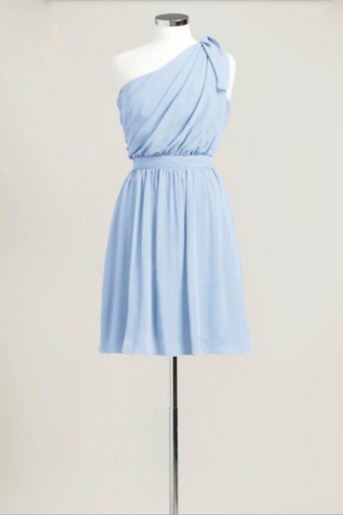 Ice blue used bridesmaid dress chiffon one shoulder knee length