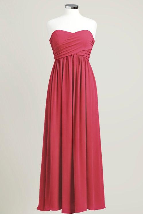 Apple red cheap bridesmaid dress sweetheart floor length used chiffon