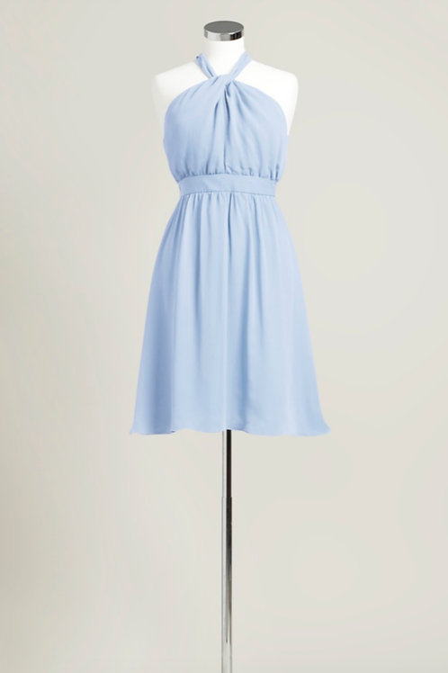 Ice blue chiffon bridesmaid dress knee length halter