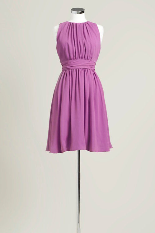 Raspberry pink jewel neck chiffon bridesmaid dress knee length used