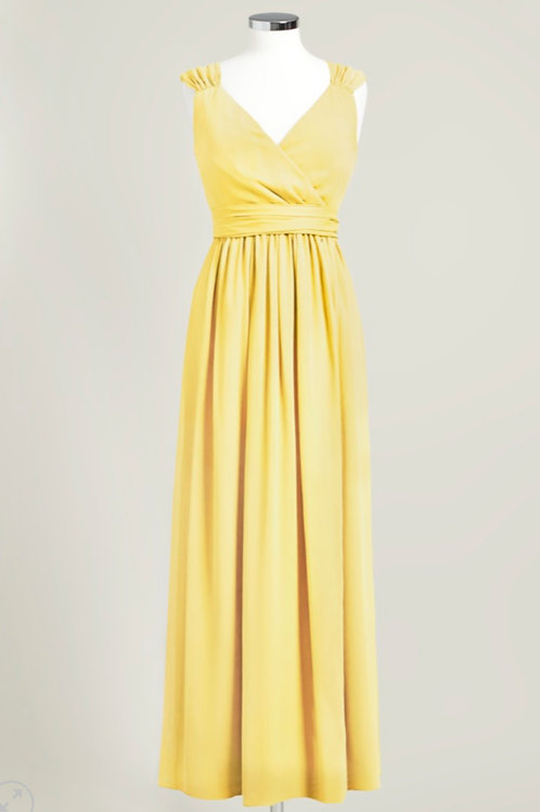 Yellow dress bridesmaid floor length