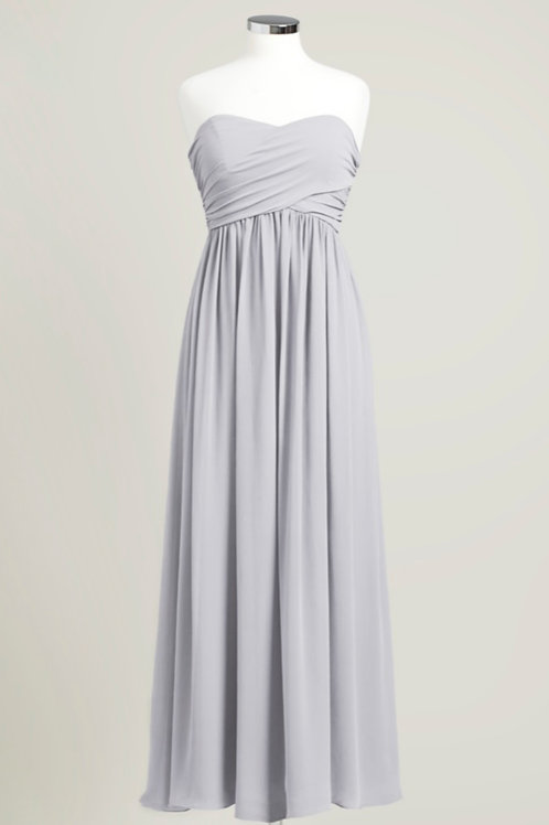 Silver bridesmaid dress sweetheart cheap floor length used chiffon