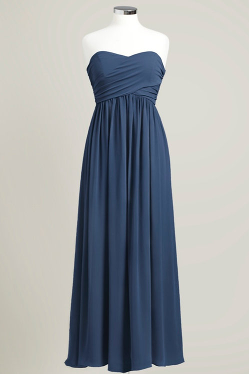 Navy blue bridesmaid dress sweetheart floor length chiffon strapless used