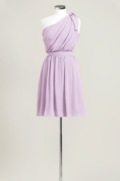 Lavender purple bridesmaid dress chiffon one shoulder knee length used
