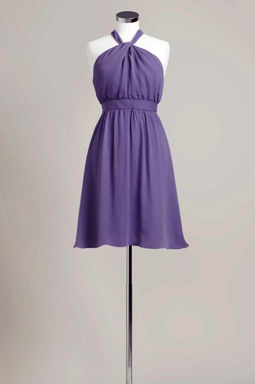 Deep purple chiffon bridesmaid dress halter knee length used