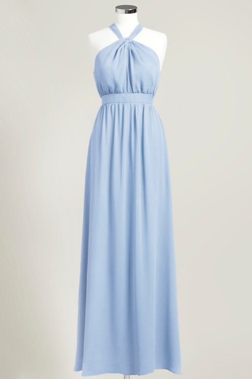 Ice blue halter bridesmaid dress formal gown