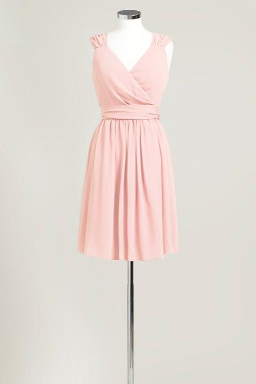 Soft pink bridesmaid dress wrap knee length chiffon used cheap