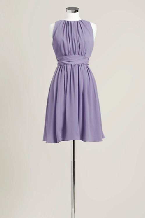Dusty purple bridesmaid dress knee length jewel neck chiffon used