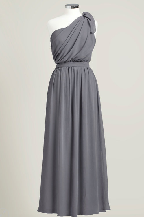 Charcoal grey bridesmaid dress chiffon used one shoulder floor length
