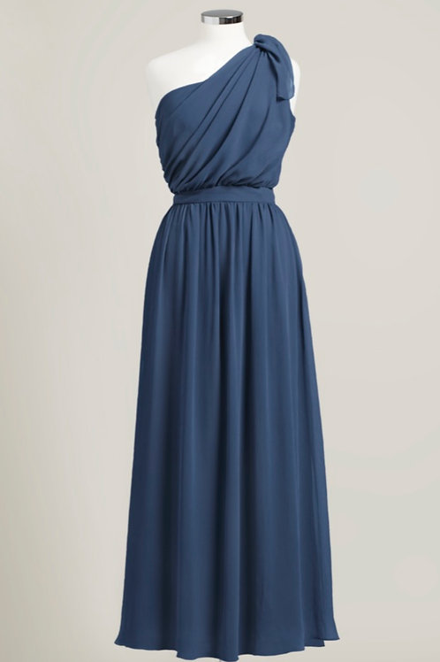 Navy blue one shoulder floor length bridesmaid dress chiffon used