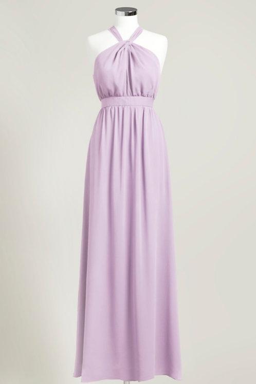 Lavender purple halter floor length chiffon bridesmaid dress