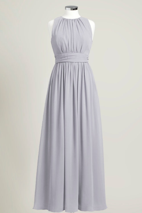Silver grey bridesmaid dress used chiffon floor length