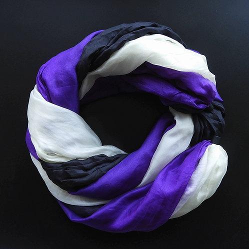 Seidenkette-Lang Schwarz-Violett-Ecru
