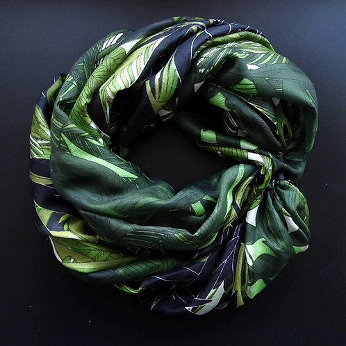 Collana di seta lunga Fantasie Nero-Verde chiaro-Verde