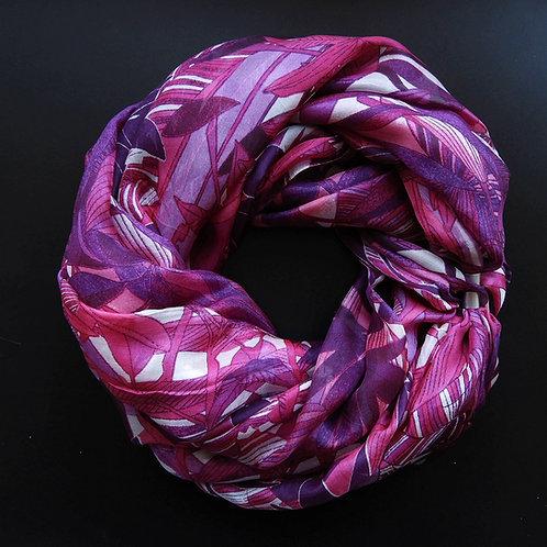 Collana di seta lunga Fantasie Bianco-Fuchsia-Viola