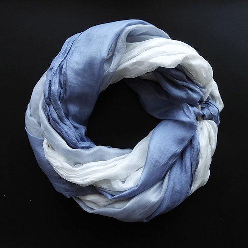 Collana di seta lunga Grigio blu-Grigio-Bianco