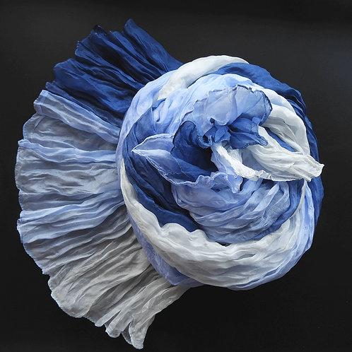 Seidencrash Jeans-Hellblau-Weiss