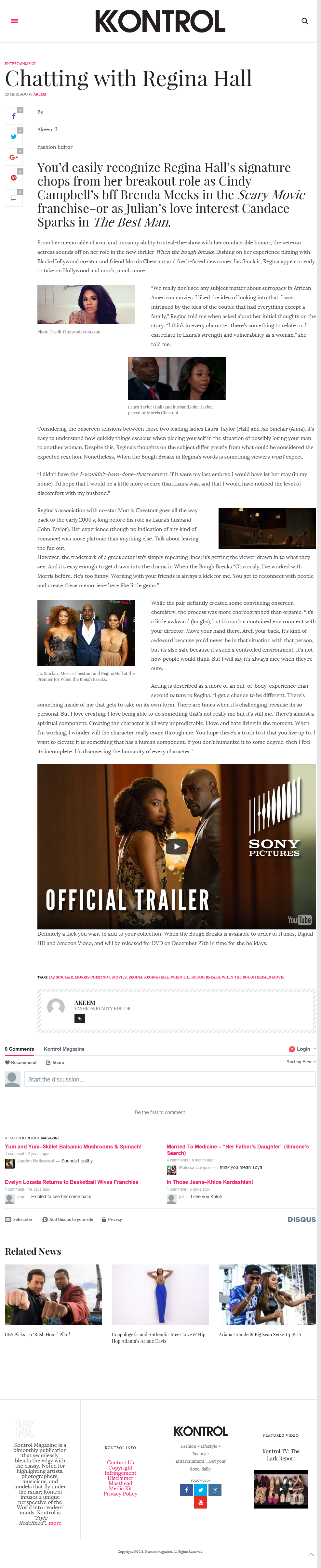 Regina Hall-When the Bough Breaks Film Interview Dec 7th 16 Kontrol Mag
