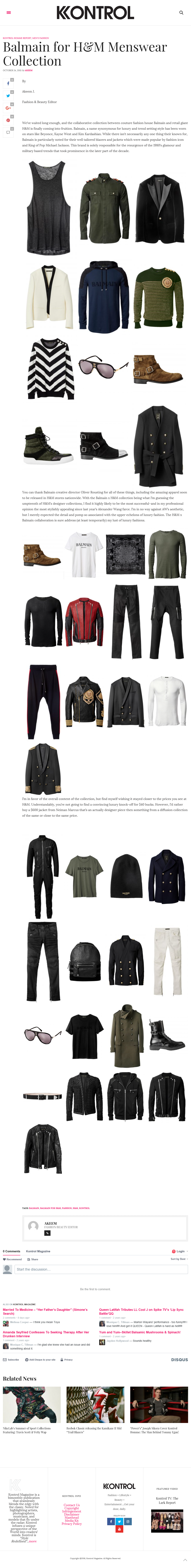 Balmain for H&M Menswear Collection--Kontrol Mag Oct 2015