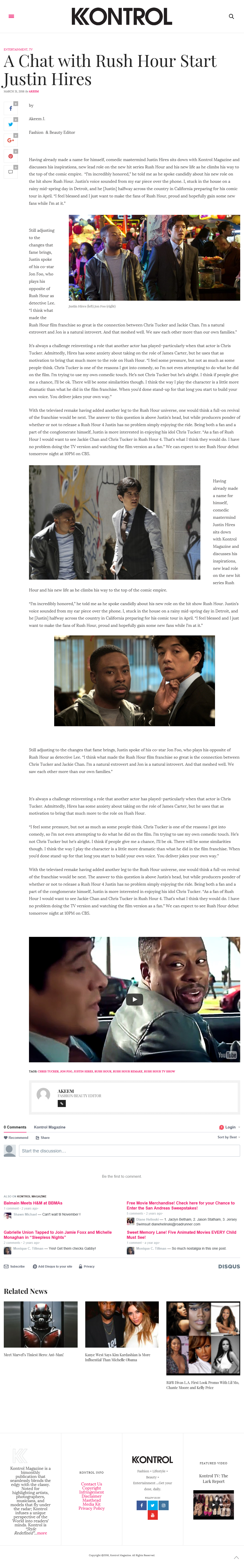 Justin Hires Interview--Rush Hour--Kontrol Mag March 2016
