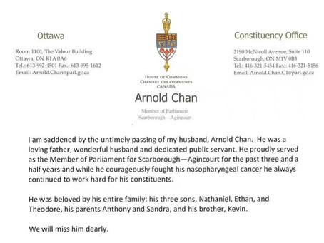 """悼念联邦议员Arnold Chan, 陈家诺 - """"我愿生如闪电之耀亮,我愿死如慧星之迅忽"""""""