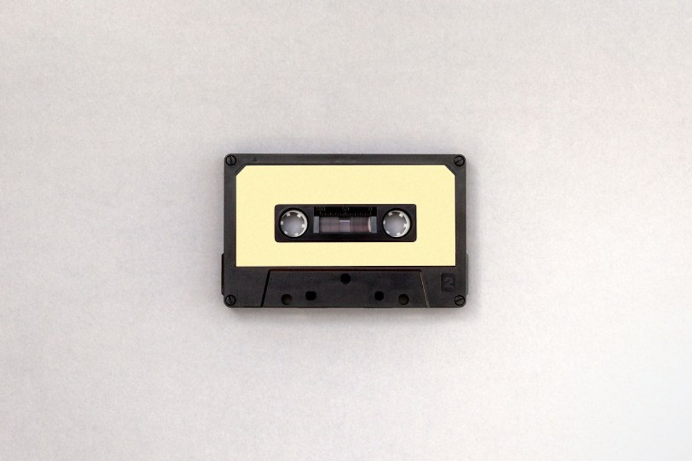 Yellow and black cassette tape